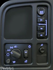 03 04 05 06 Silverado Tahoe Left Dash Switches 4WD bulb LED Upgrade Kit Blue