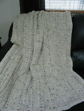 "AFGHAN BLANKET THROW - ARAN - CLASSIC PATTERN - CREAM SPECK - 54"" X 68"" - NEW"