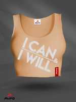 PIMD Women Crop Top I Can I Will - Peach Motivation Gym Fitness Tank Training