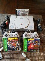 PS1 Sony Playstation 1 Console Bundle 2 Controllers Crash Bandicoot 1 & 2