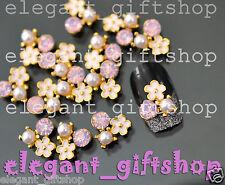 #EA122 10pcs Alloy Jewelry Nail Art Deco Flower with Glitter Rhinestone & Pearl