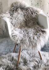 Tibet Lammfell mongolisches Schaffell Sheepskin silbergrau beige 95 cm weich