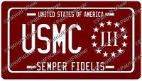 USMC,License Plate,Marine,3%,Threeper,Semper Fi,Military,Hoorah,Vinyl Decal