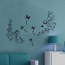 Wall Sticker Adesivo Parete Muro FARFALLE FIORI VINE Nero 70x50cm Decoro Casa