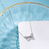 NEW Womens Genuine S925 Sterling Silver Bow Knot CZ Pendant Necklace Choker