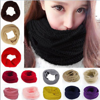 Fashion Women Winter Warm Infinity Long Circle Cable Knit Cowl Neck Shawl Scarf