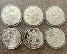 World of Dragons - 6 BU Silver Rounds Aztec Welsh Chinese Norse Indian Egyptian