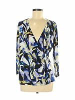Calvin Klein Faux Wrap Front Top Blouse Womens Size Medium 3/4 Sleeve Vneck