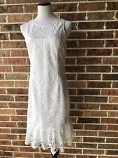 White House Black Market Sleeveless Floral Lace Flounce Shift Dress 8