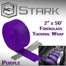 """2"""" x 50FT Exhaust Header Fiberglass Heat Wrap Tape w/ 5 Steel Ties - Purple (E)"""