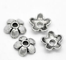 "300PCs Silver Tone Flower Bead End Caps Findings 6mmx6mm( 2/8""x 2/8"")"