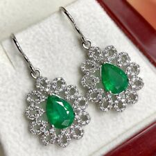 2.71TCW Emeralds Diamond 18K solid WHITE gold Earrings Natural Dangle Fish Hook