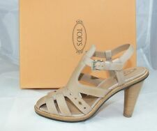 luxus Tods Tod´s Gr 38 Sandaletten High Heels Schuhe Shoes beige neu UVP 430€