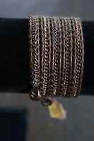 NEW Chan Luu Men or Women's Copper Chain 5 Wrap Bracelet Brown Leather Cord
