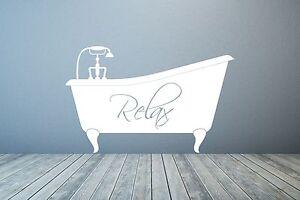 Bathtub Bath, Relax. Bathroom Vinyl wall decal art quote sticker. Any colour.