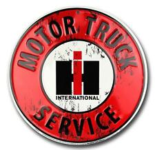 "International Harvester Motor Truck Service 12"" Round Metal Sign Garage Decor"