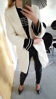 ZARA COAT ECRU IVORY THICK WOOL OVERSIZE GOLD BUTTONS CRINKLED SIZE M 10 38
