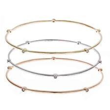 Diamond Eternity Stackable Bangle Bracelet Set 14k Multi Tone Gold 0.45Ct Womens