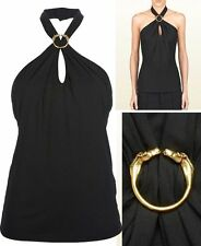 $750 GUCCI TOP BLACK JERSEY HALTER BLOUSE HORSE HEAD LOGO DETAIL sz L LARGE