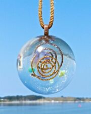 AMETHYST and AMAZONITE Positive Energy Orgone Dome Pendant with Bronze & Gold.