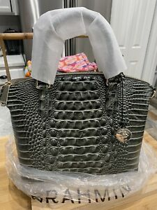 Brahmin M Duxbury Satchel in Serpentine Melbourne Croc Embossed Leather New