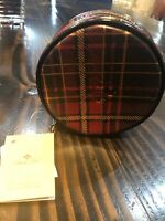 Patricia Nash Diamante Leather Round Zip Jewelry Case Bag Plaid Tartan Red Pouch