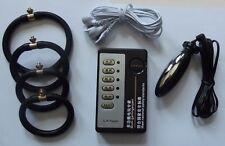ESTIM E-STIM TENS UNIT WITH 4 ADJUSTABLE RINGS & SMALL PLUG CONDUCTIVE UK SELLER