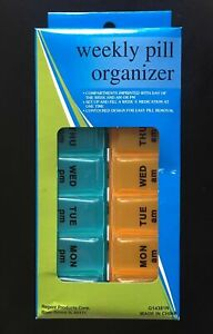 7 DAY AM PM Pill Box Organizer Case -Travel or Home Medicine Vitamins NEW
