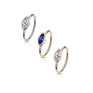 316L Surgical Steel Nose Cartilage Hoop Rings Bezel top marquise