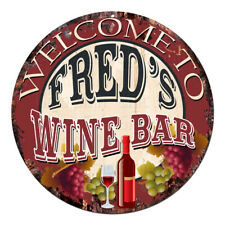 CMWB-0071 Welcome to FRED'S WINE BAR Chic Tin Sign Man Cave Decor Gift