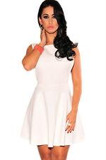 White Textured Open Sides Skater Club Mini Dress Medium