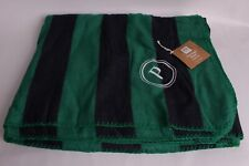 NWT Pottery Barn PB Teen Plush Rugby Blanket twin, green & navy, P monogram