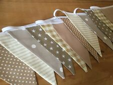 CREAM BEIGE BROWN NURSERY HANDMADE FABRIC BUNTING nursery baby spot vintage boy