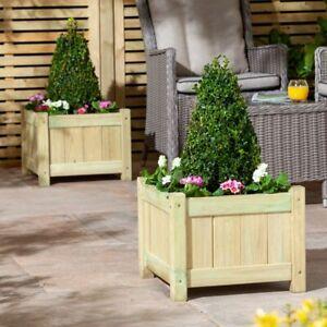 Square Wooden Garden Planter Plants Box 45cm x 45cm Pressure Treated 2pk