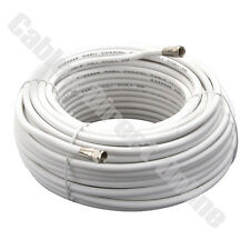 25ft 50ft 100FT WHITE Coaxial Cable Coax HD Satellite Dish TV Antenna Wire Male