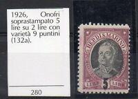 1926 SAN MARINO ONOFRI VARIETA' LINGUELLATO C/1690