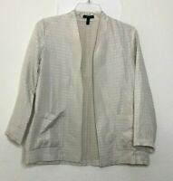 Eileen Fisher Women's Silk Blend Blazer Jacket size XXS Pockets Open front CB