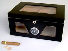 Humidor Angelo 3 Glasfenster schwarz für ca 130 Zigarren Acrylpolymer-Befeuchter