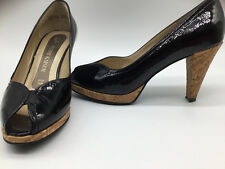 7d89597d947bb Black Patent Leather Peter Kaiser Emilia Peep Toe High Heel Pumps.NWB.Size  7M