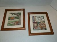 2 Completed Finished Framed Teddy Bear Country Farm Decor Scene Cross Stitch