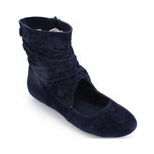 Womens Ladies Faux Suede Velvet Ankle Boots Shoes Low Flat Heel Zip Fasten Size