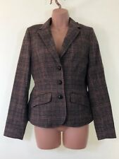 H&M brown check plaid tartan elbow patch heritage tweed blazer jacket size 10