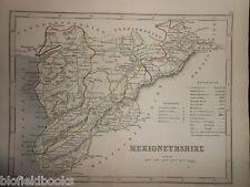 ORIGINALE antico colorato a mano Mappa del Galles NORD Merionethshire (c1850s), Bala