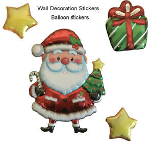 Christmas Santa Removable Balloon stickers Wall Window Xmas Decoration