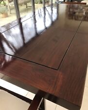 Beautiful wooden dining table and end chairs; sits 8 comfortably