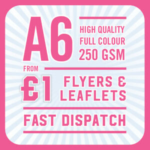 1000 Full Colour Printed Flyers / Leaflets - A6 250gsm Gloss