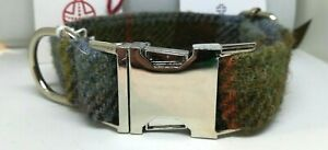 Brown & Blue check Harris Tweed dog CLIP collar & lead set or sold separately