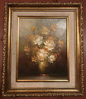 """Signed Still Life White Rose Bouquet in Vase 8x10"""" in 12x14"""" Gilded Wood Frame"""