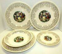 Vintage Crooksville China Co. Ornate Gold Trimmed Victorian Dinner Set Plates