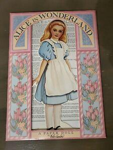 "1992 ALICE IN WONDERLAND Paper Doll & 12 Costumes NEW SEALED Peck-Gandre 12"""